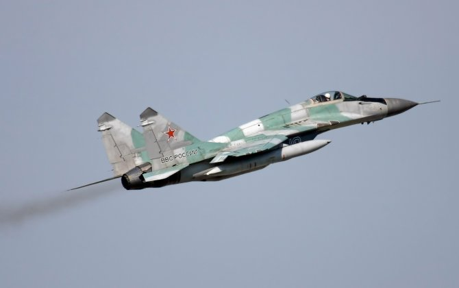 Russian MiG-29 Jet Practices Take-off From Ski-Jump