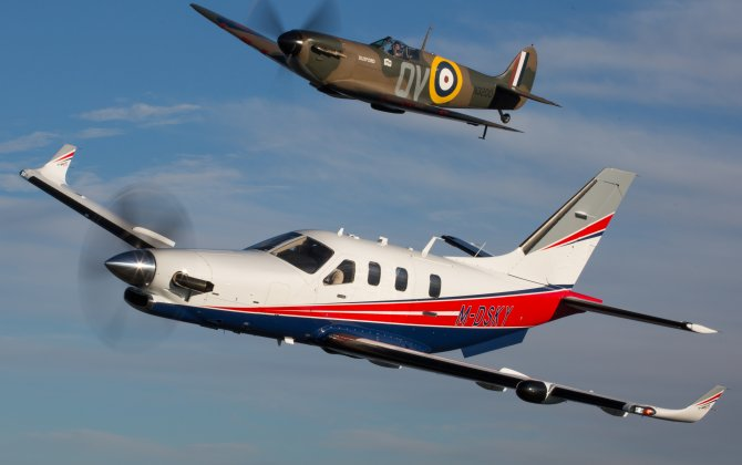 A Daher TBM 910 owner's birthday present: formation flight with a World War II-era Spitfire
