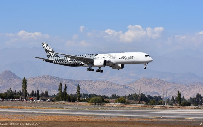 A350-900 lands in Chile for FIDAE Air Show