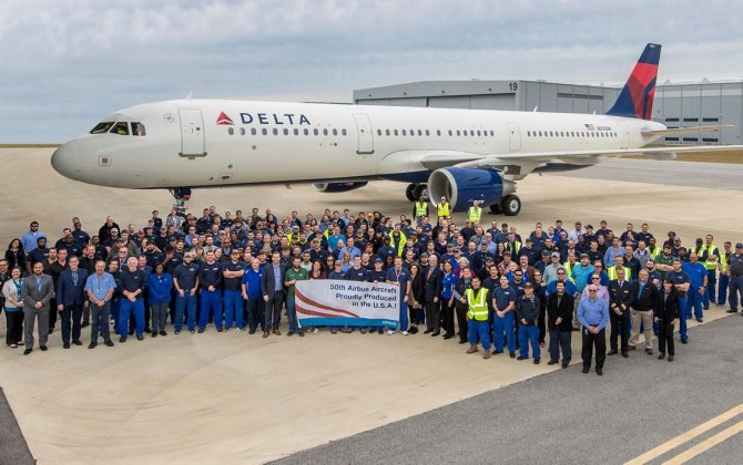 Airbus delivers 50th A320 Family aircraft assembled in the U.S.