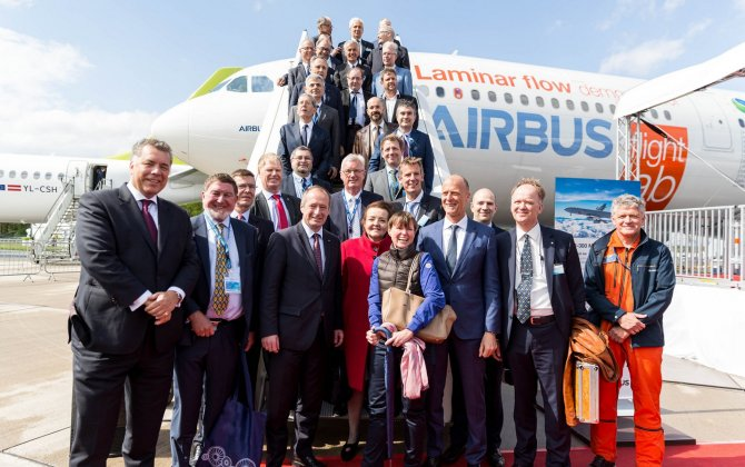 Airbus presents 'Flight Lab' BLADE test aircraft to EU Clean Sky partners at ILA