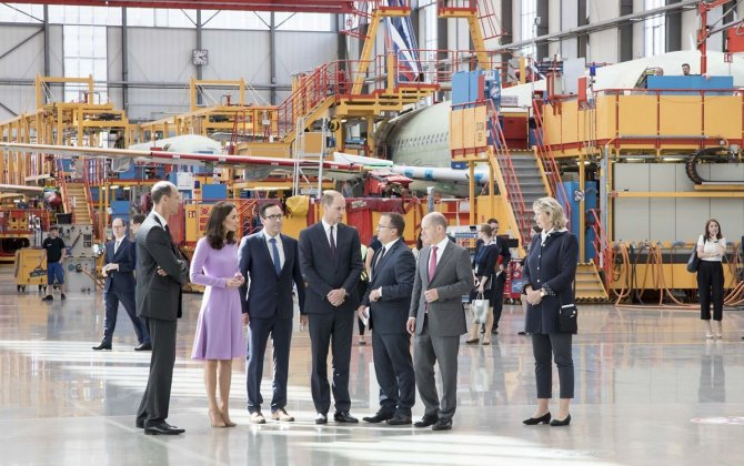 Airbus welcomes The Duke and Duchess of Cambridge to Hamburg Finkenwerder