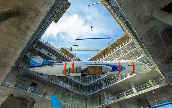 An aircraft inside a building ? Just landed by Jet MS