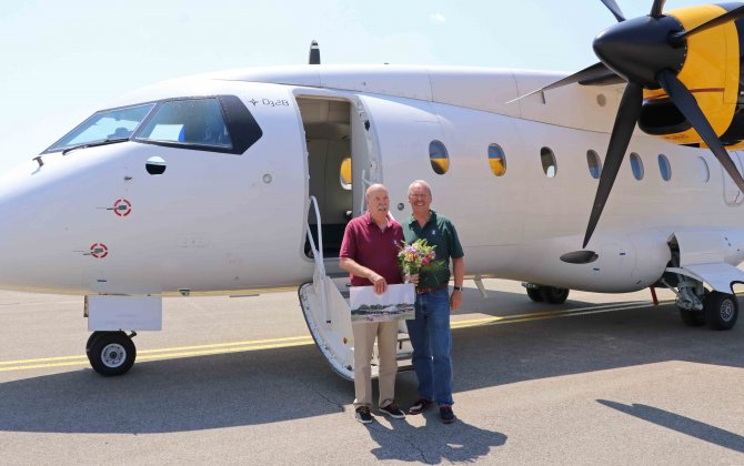 Captain Peter Weger celebrates the end of a 50-year flying career