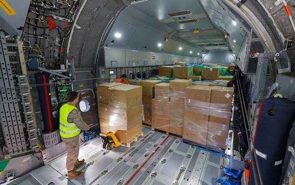 COVID-19 crisis efforts - Airbus A400M transports masks to Spain
