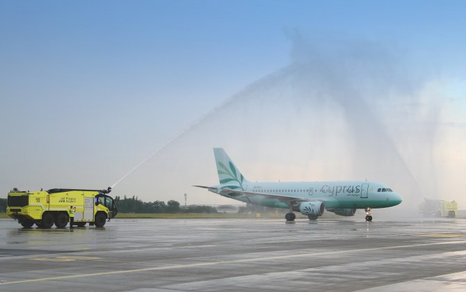 Cyprus Airways' inaugural flight from Larnaca to Prague warm welcome at Prague Airport