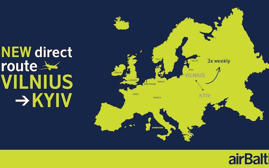 Direct flights between Vilnius and Kyiv with airBaltic