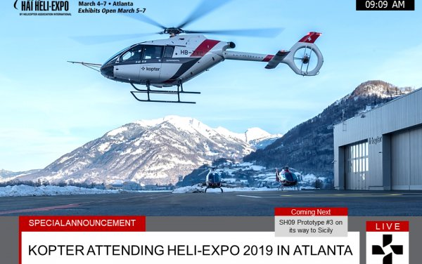 Discover Kopter Group SH09 helicopter in a passenger transport configuration at Heli-Expo 2019