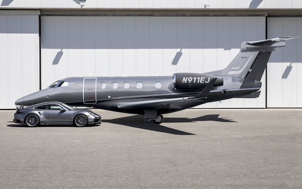 Duet - the perfect marriage of Embraer jet and Porsche car