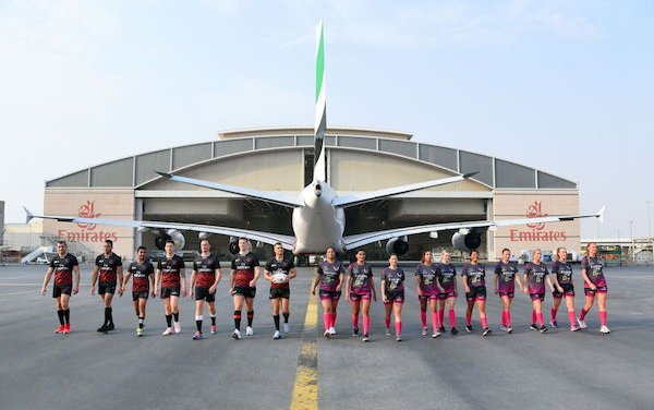 Emirates Dubai Rugby Sevens A380 livery marking the flagship event's 50th anniversary