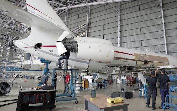 First Heavy Maintenance Inspection on a Falcon 2000LXS by ExecuJet MRO Services Malaysia