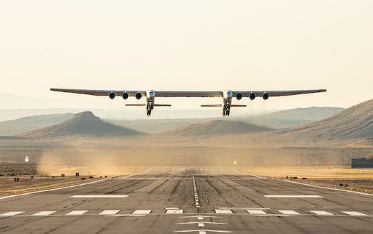 Historic First Flight of Stratolaunch aircraft over Mojave Desert