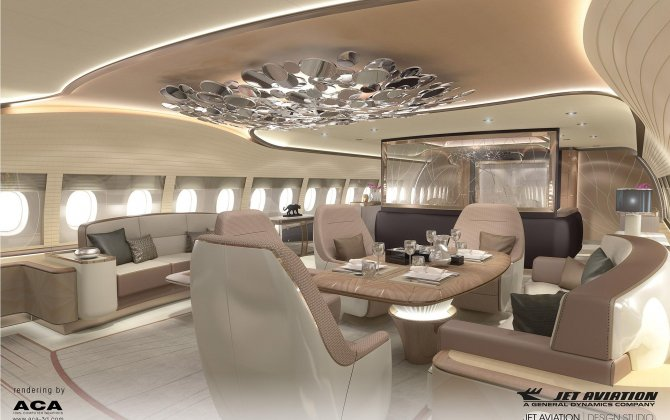 Jet Aviation Basel renders ACJ350 cabin interior for Airbus to display at EBACE