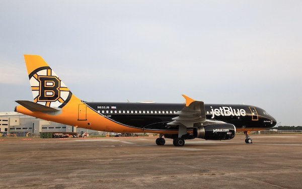 JetBlue first NHL-themed livery dedicated to the Boston Bruins