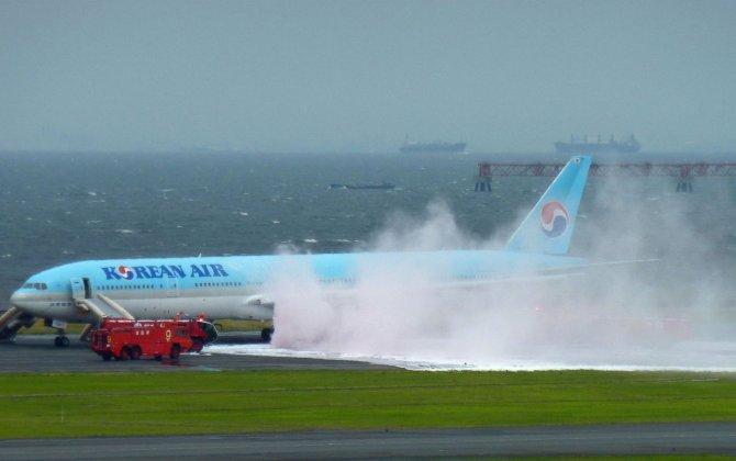 Korean Air jet has apparent engine fire at Tokyo airport