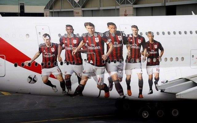 Mario Balotelli and AC Milan stars fly high with Emirates A380 design