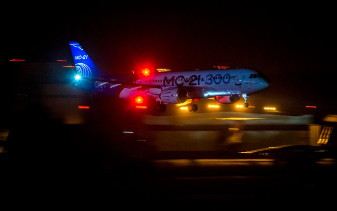 MC-21-300 aircraft has performed a maiden landing in the dark
