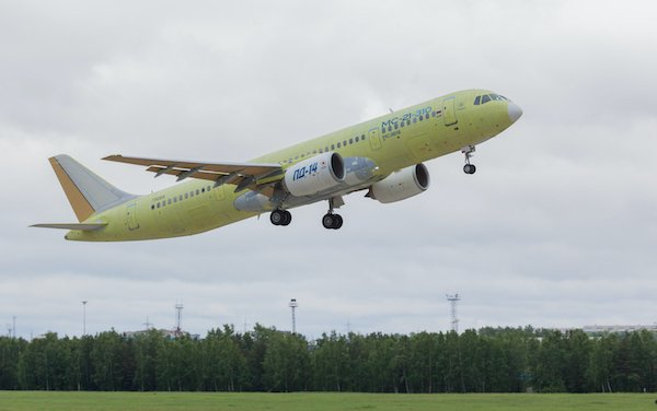 MC-21-310 flight-test aircraft arrived in Ulyanovsk to be painted
