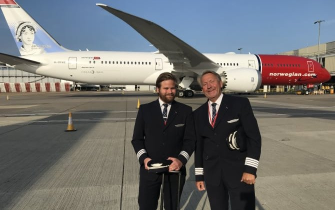 Norwegian's father and son pilots fly the Dreamliner to New York ahead of Father's Day