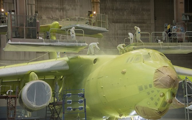 Primer coating of the first IL-78M-90A refueling aircraft is complete