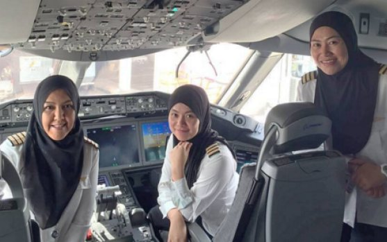 Royal Brunei Airlines' first all-female pilot crew touches down in Saudi Arabia
