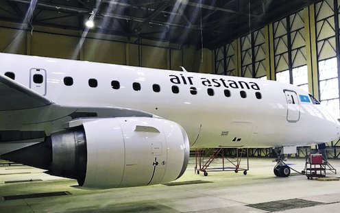 S7 Technics provides newly painted livery for Air Astana Embraer E190