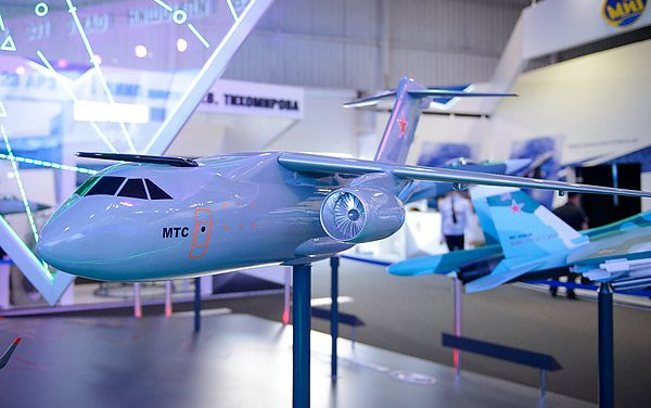 Specialists of TsAGI test the model of the Il-276 medium-lift military transport plane