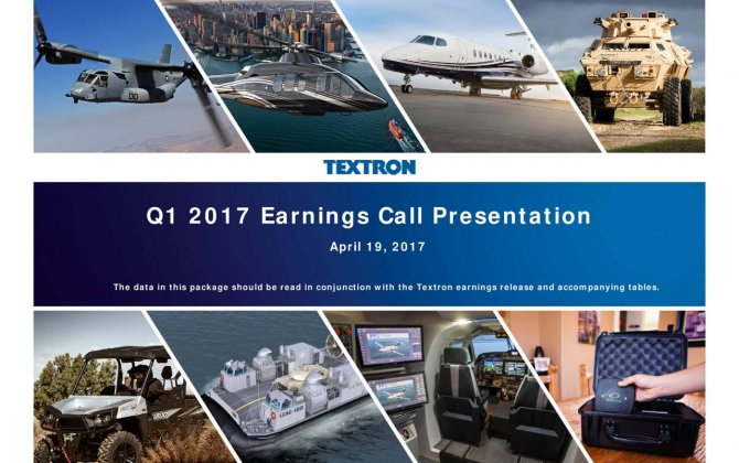 Textron Reports First Quarter 2017 Results