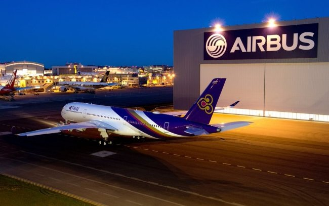 Thai Airways first A350 leaves the paint shop