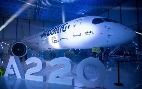 The 100th Airbus A220 aircraft produced - it is airBaltic'