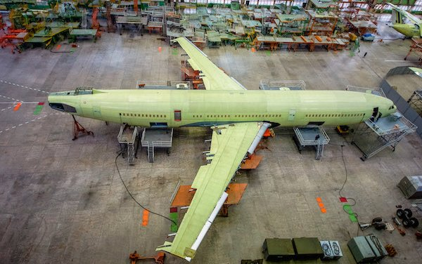 The airframe for the first IL-96-400M airliner is at the final assembly stage