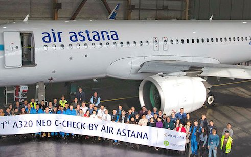 The first Air Astana C-check on Airbus A320neo at Almaty Airport base