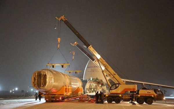 The fuselage of MC-21-300 aircraft delivered to Zhukovsky