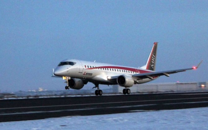 Third Mitsubishi MRJ Prototype Arrives in U.S.