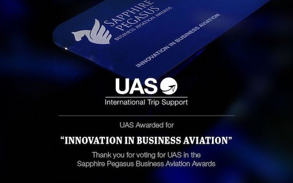 UAS delighted to receive fourth Sapphire Pegasus Business Aviation Award