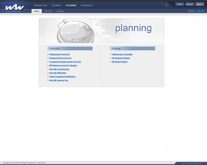 WinAir - planning section